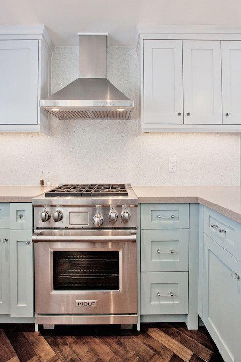 Ice Blue Cabinets Light Gray Quartz Counters Mini Mosaic Marble Backsplash Kitchen Countertops Laminate Contemporary Chic