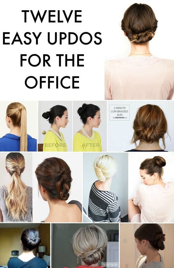 12 Easy Office Updos Buns Chignons More For Busy For Professionals Work Hairstyles Medium Hair Styles Up Dos For Medium Hair