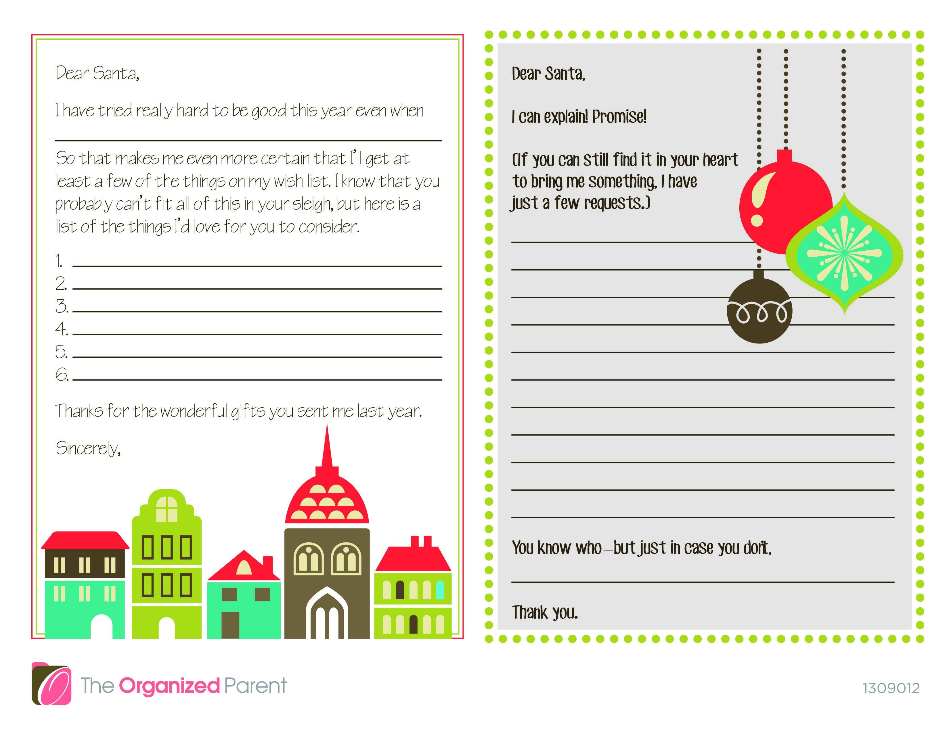 Printable Dear Santa Letters for your little ones. Dear