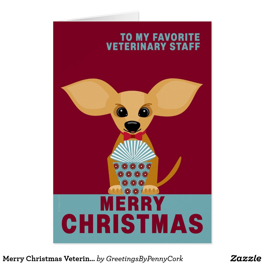 Merry Christmas Veterinary Staff Cute Chihuahua Custom Christmas