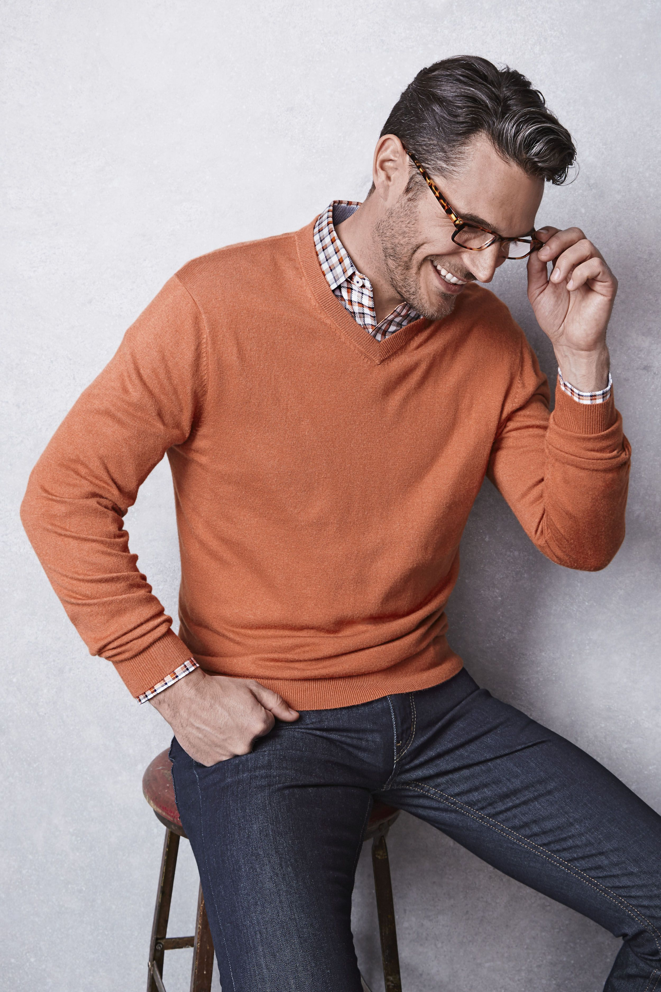 Made to layer the sweater and shirt combo looks good with for Sweater and dress shirt combo