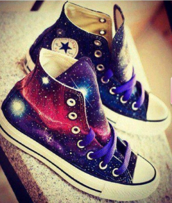 28b76769db6 tbh so easy to make..... go to youtube and type diy galaxy shoes ...