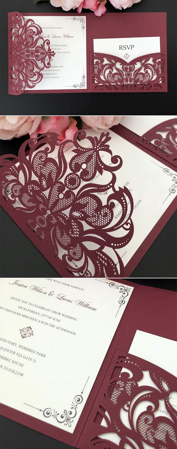 Wedding decorations made with cricut october 2018 Burgundy Fall Laser Cut Wedding Invitations in    All Things