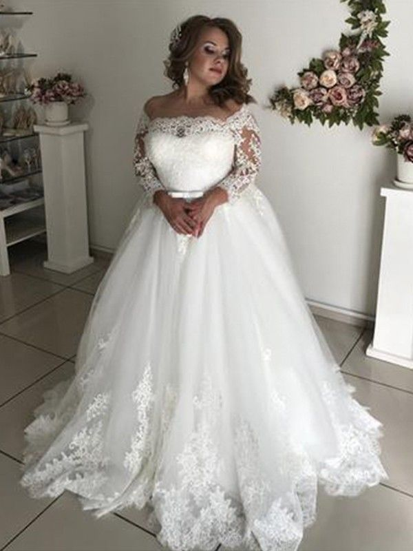 256285ea624 A-Line Off-the-Shoulder Long Sleeves Sweep Brush Train Lace Tulle Wedding  Dresses