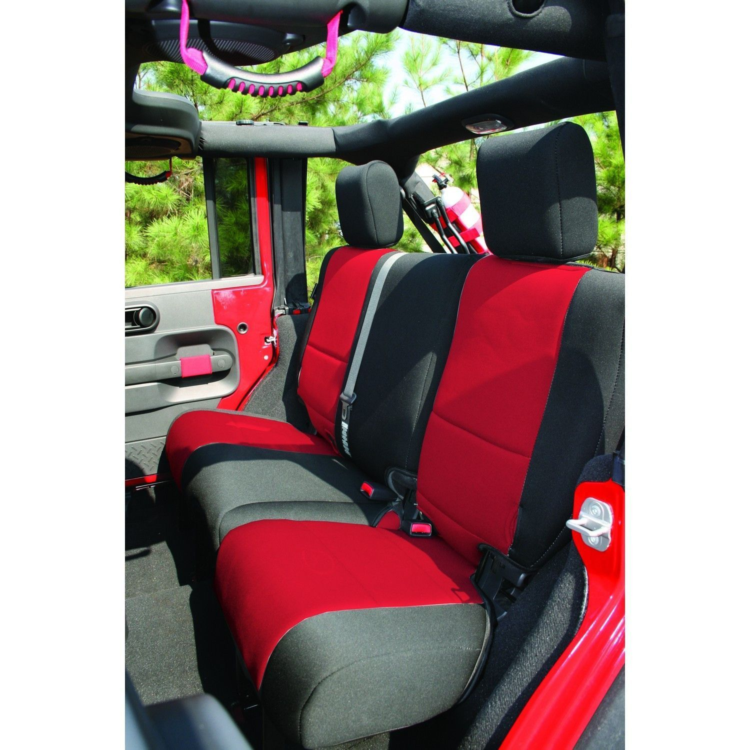 Neoprene Rear Seat Cover Black Red 07 16 Jeep Wrangler Jku Neoprene Seat Covers Jeep Wrangler Seat Covers Jeep Wrangler Interior