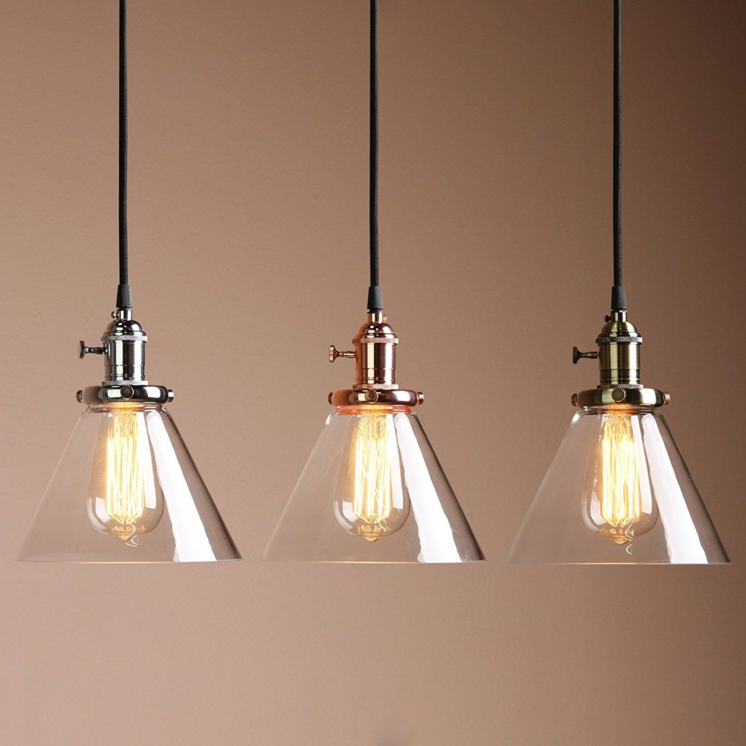 Permo Industrial Vintage Pendant Light With Funnel Flared Glass - Kitchen pendant lighting ebay