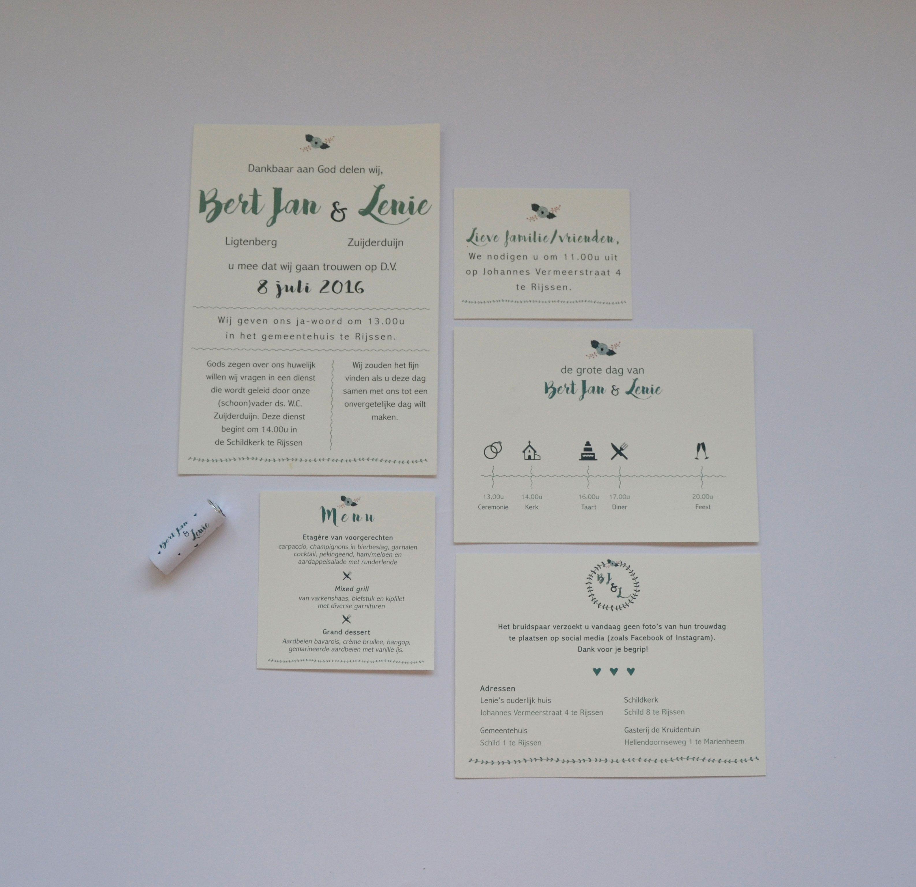 Trouwkaart Lenie & Bert Jan   design by PAPER & INK -    #Wedding #Invitation #Handmade #Trouwkaart #Trouwen #Inspiratie #Bruiloft #Touw #Mint #Stationary #MintToBe #Floral #menu #dayprogram #pepermint