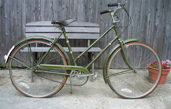 Lovely Bicycle What S Old And Green With Herons All Over Raleigh Bikes Green Bike Green Bicycle