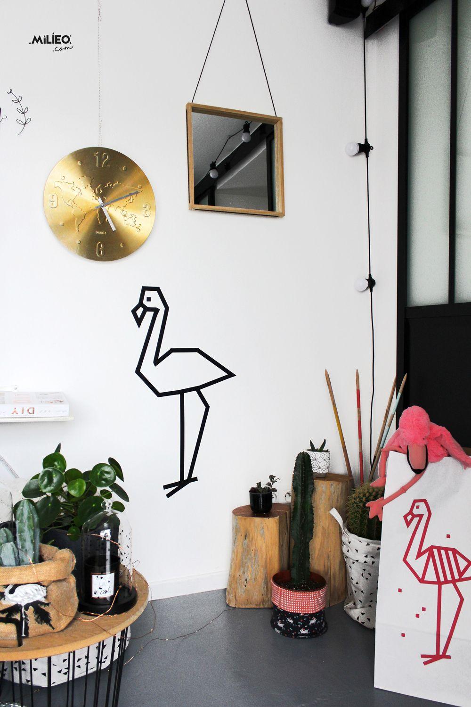 Masking tape kit DIY - décoration murale - le flamant rose en 19