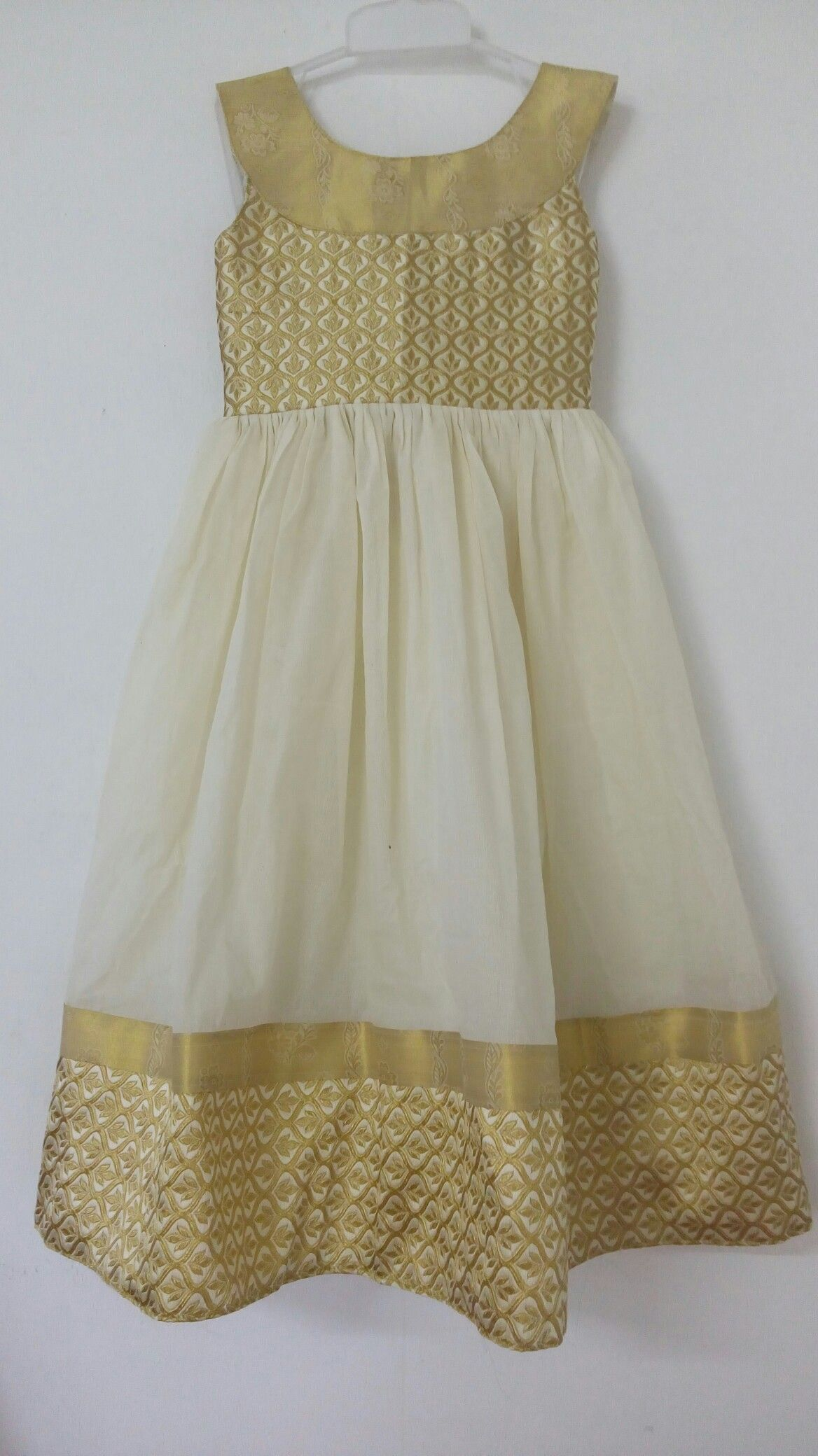 07b6c822f Onam pecial#gold and cream combination | Venus Dress Makers / kids ...