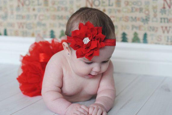 Christmas Headband Bow Headband Red Messy Bow Headband Newborn Headband Girl Headband Infant Headband Red Headband Baby Headband