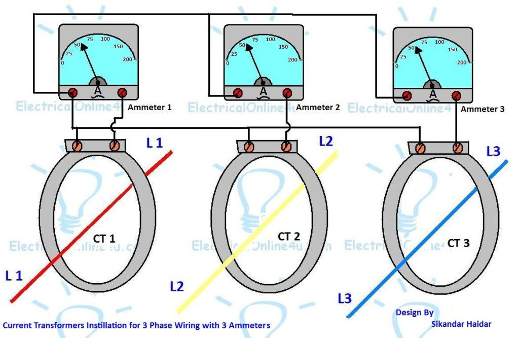 Current Transformer Wiring Diagram Ct Installation With Ammeters For 3 Phase System Electrical On C Current Transformer Electrical Circuit Diagram Transformers