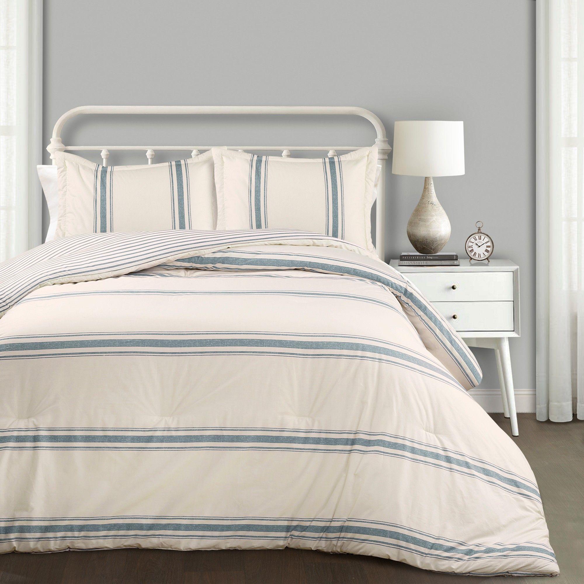 3pc Full/Queen Farmhouse Stripe Comforter Set Blue Lush