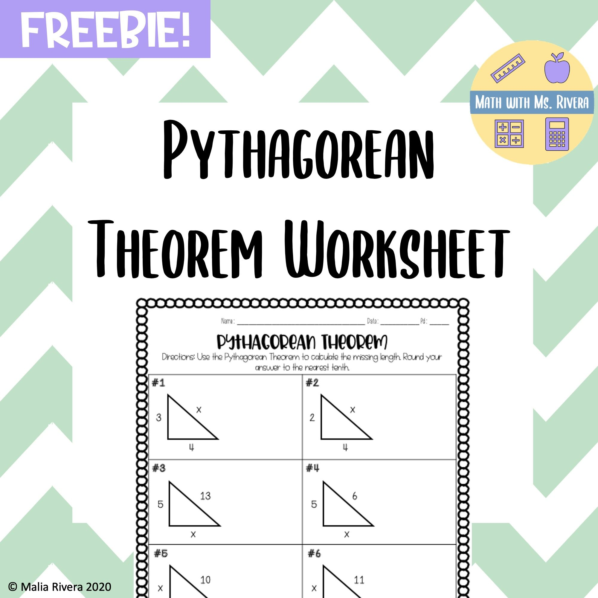 Pythagorean Theorem Worksheet FREEBIE in 2020