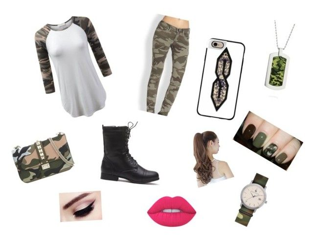 """Camo chic"" by jojosoftball19 ❤ liked on Polyvore featuring True Religion, Casetify, Pin Show, Valentino, Lime Crime and Belk & Co."