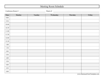 Blank Conference Room Schedule Schedule Template Schedule Templates Excel Templates