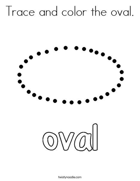 Trace And Color The Oval Coloring Page Twisty Noodle Coloring