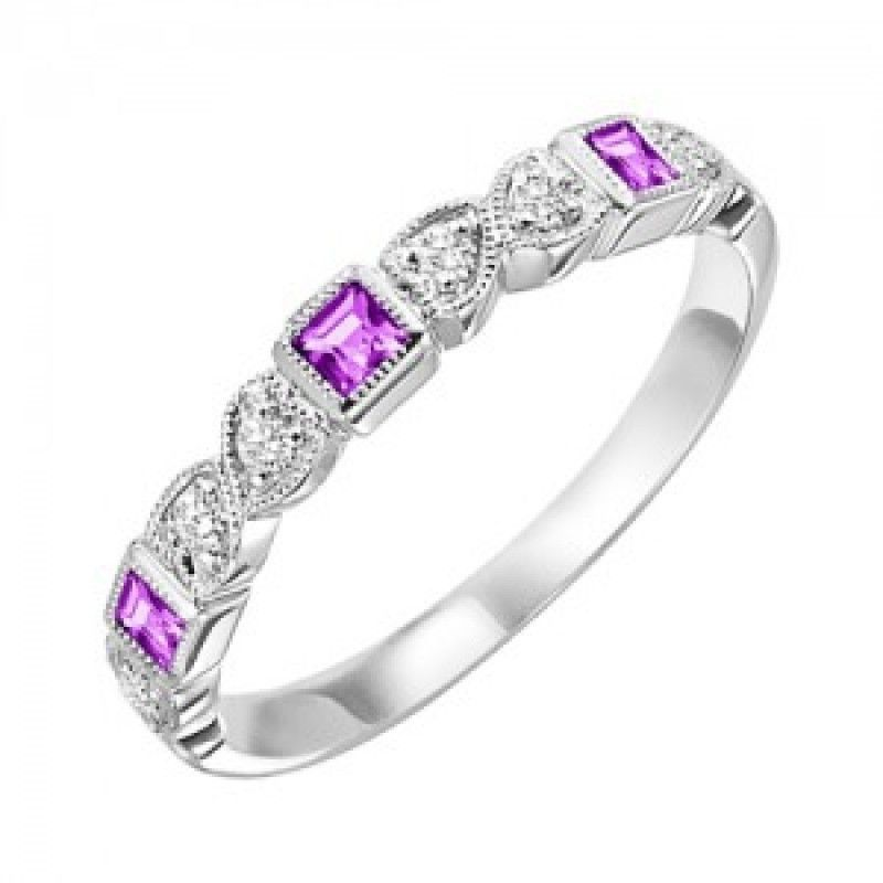 10k white gold diamond and square ruby birthstone ring