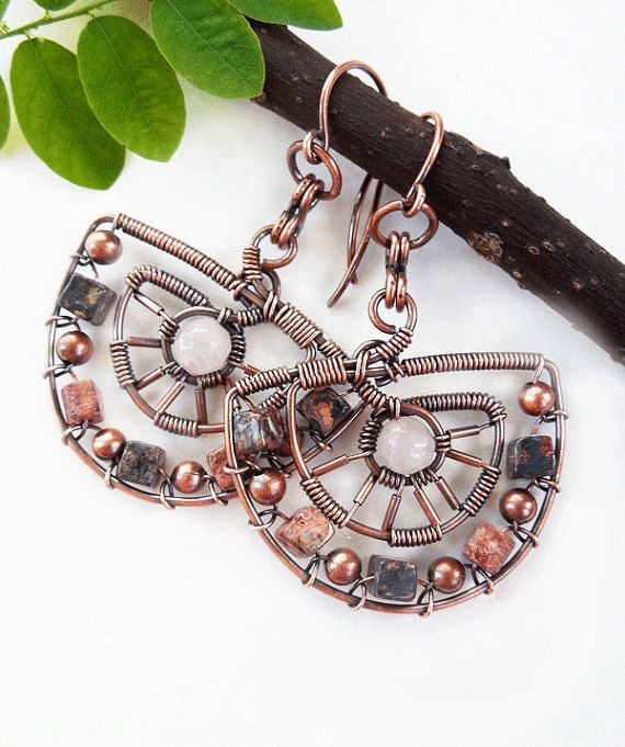 Wire wrapped boho earrings by Kissedbyclover  https://www.etsy.com/listing/237834151/boho-earrings-wire-wrapped-earrings?ref=shop_home_active_5