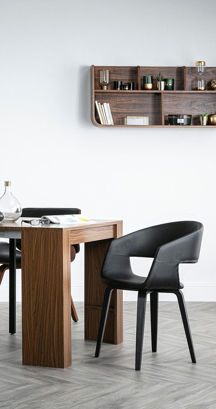 Chaises Design Noires Pieds Bois Lot De 2 Slam Miliboo En 2020 Chaise Design Table Basse Meuble Design