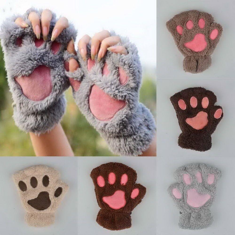 Winter Women Cute Cat Claw Paw Plush Mittens Short Fingerless Gloves Half Finger Paw Gloves Fingerless Winter Women