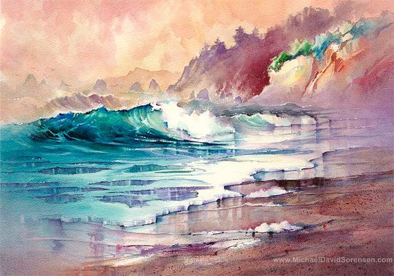 Coastal Watercolor Print By Michael David Sorensen Ocean Painting