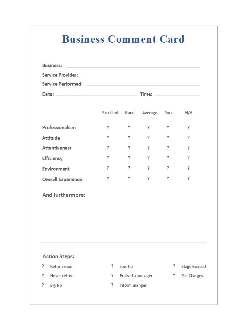 50 Printable Comment Card Feedback Form Templates ᐅ Inside