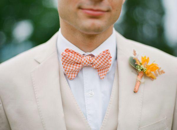 orange groom bow ties