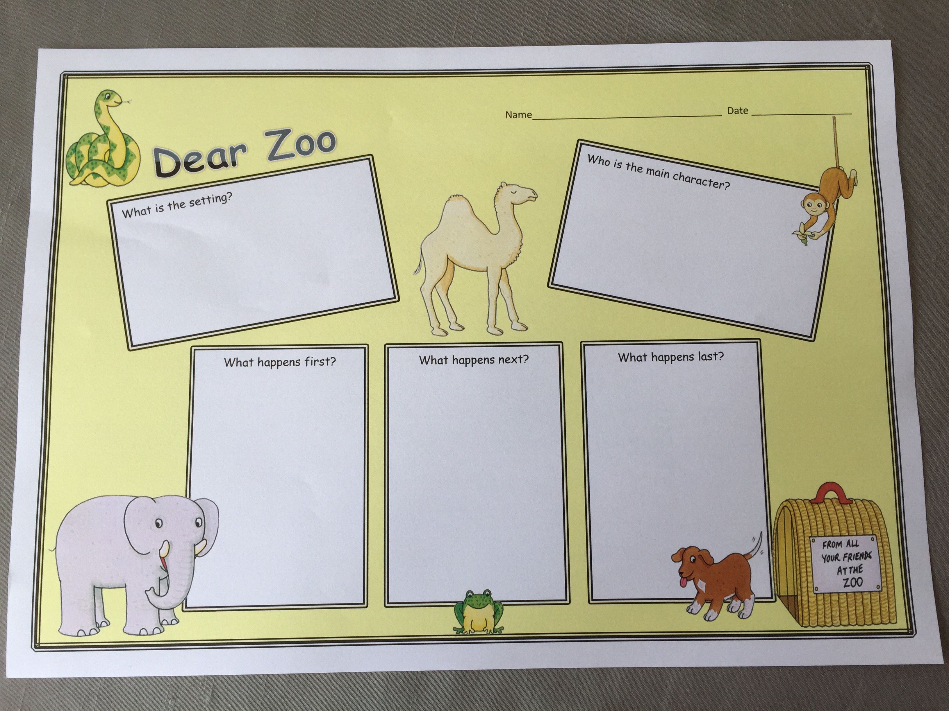 Dear Zoo Book Review Writing Frame Based On Designs From Twinkl I Made My Own Using Word