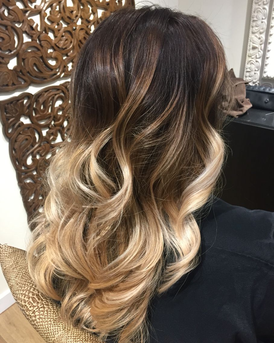 Blonde Balayage Ombre On A Dark Brown Base With Images Blonde