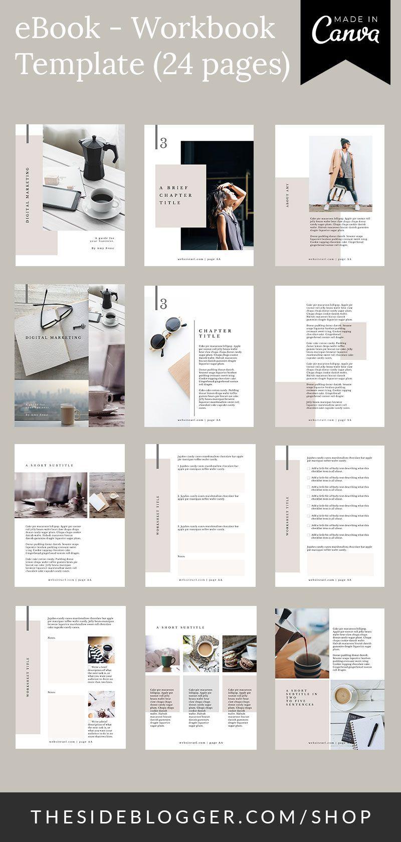 Bloggers Canva Creators Ebookworkbook Online Pages Template Ebook Workbook Canva Template 24 Pages For Blogger Broschure Design Web Design Broschure