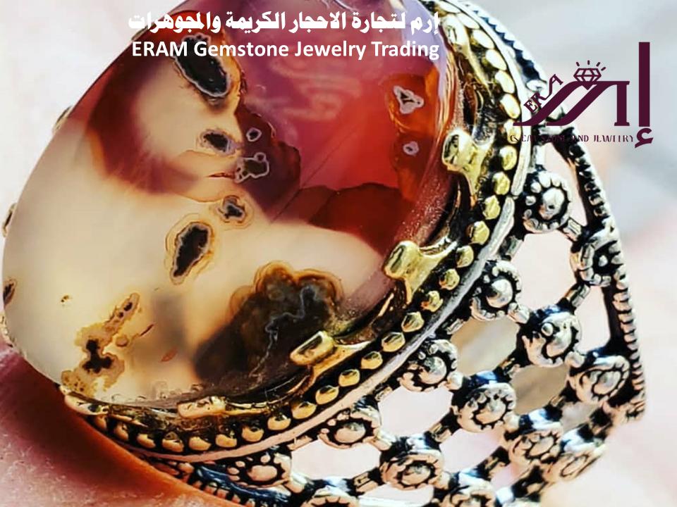 خاتم عقيق يمني ملون مميز طبيعي100 Agate للعرض Desserts Cake Birthday Cake
