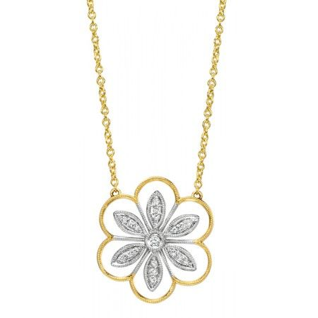 Two-Tone Gold and Diamond Flower Necklace | Emma Parker