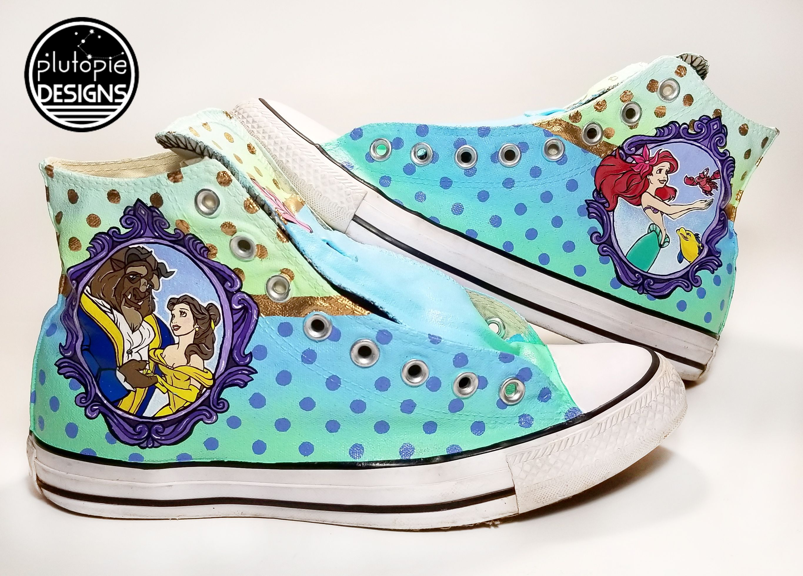 f27d2ff34b53 Beauty and the Beast - The Little Mermaid - Custom Painted Converse Shoes -  Wedding Shoes - Disney Princess