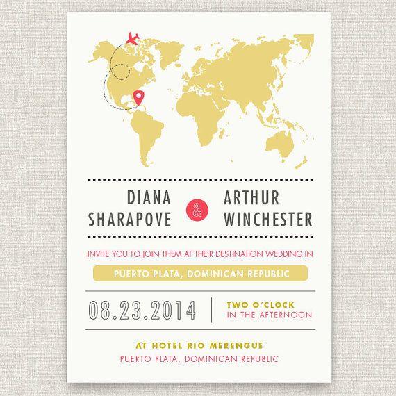 Flug Ziel Moderne Hochzeitseinladung Mit Karte Von Papertalkpress