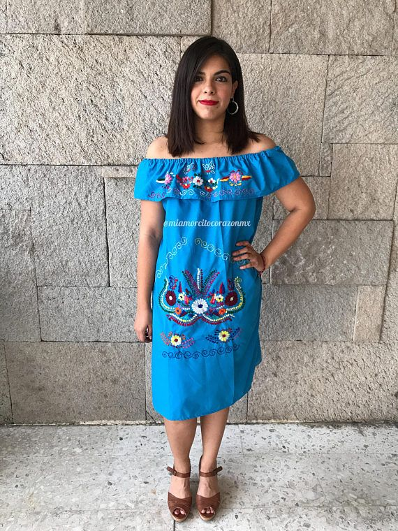 Mexican dress mini tunic off shoulder mexican party fiesta ...