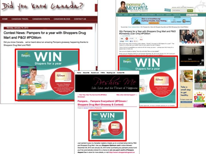 P & G Pampers Contest Module On Blogs Examples Of A Content