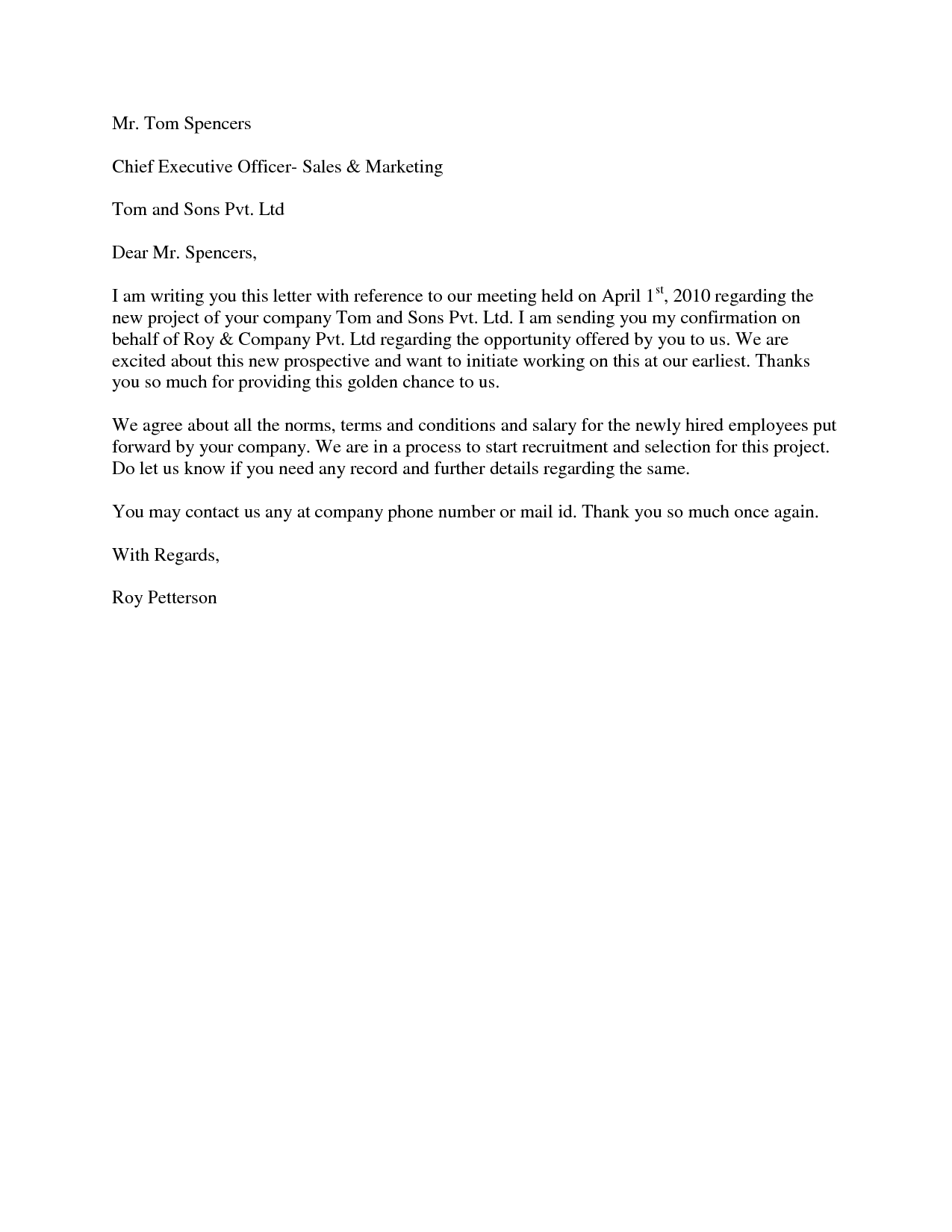 sales offer letter commercial rental agreement template free