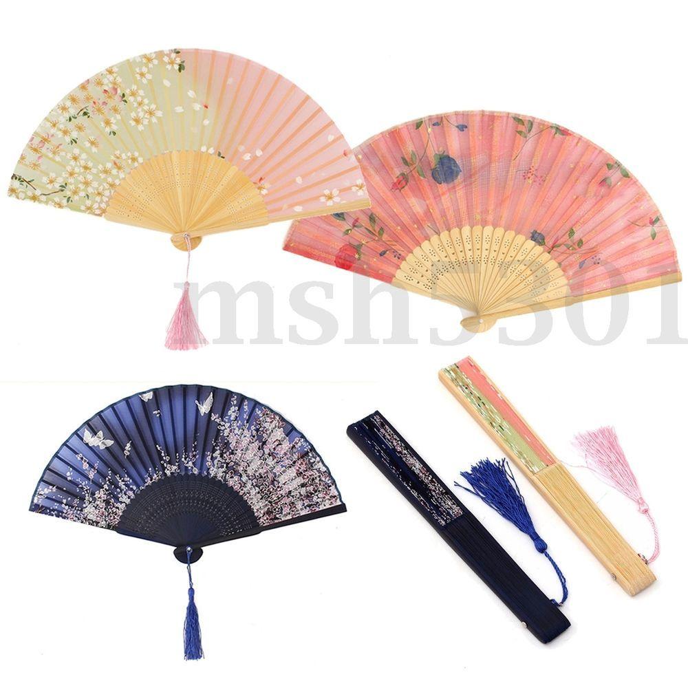 Chinese Culture Silk Bamboo Flower Folding Pocket Hand Fan Wedding ...