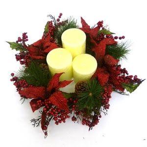 Diy centro de mesa navide o en tonos rojos centros de for Centros de mesa navidenos elegantes