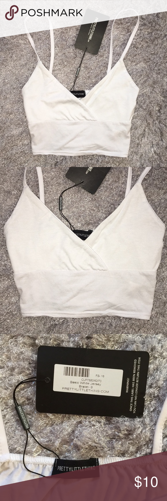 f103beff7560b NWT Pretty Little Thing Jersey Bralette Crop Top NWT 💞 US size 4 Basic  white bralette crop tank top V-neck Jersey material PrettyLittleThing Tops  Tank Tops