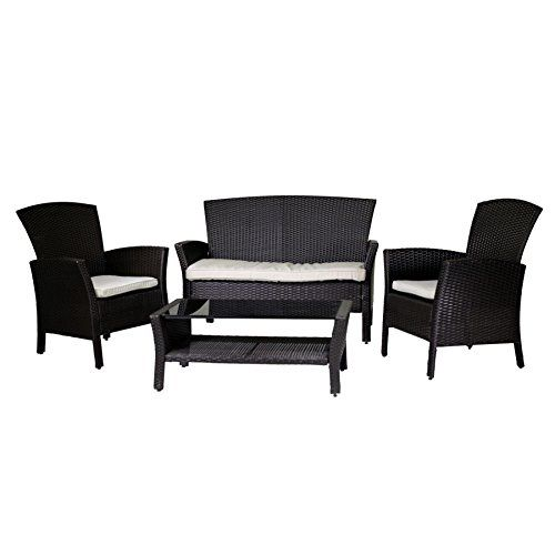 Garden Living Room Set with Sofa Armchairs Rattan Table Synthetic