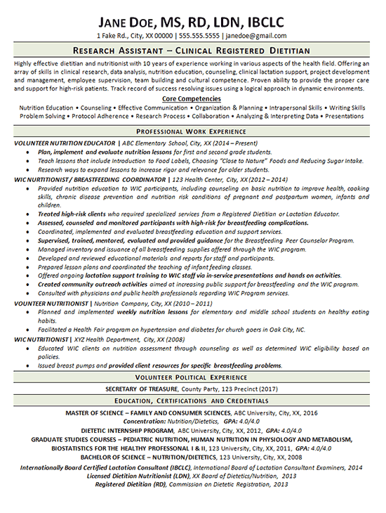 Clinical Dietitian Resume Example | Resume examples, Sample resume ...