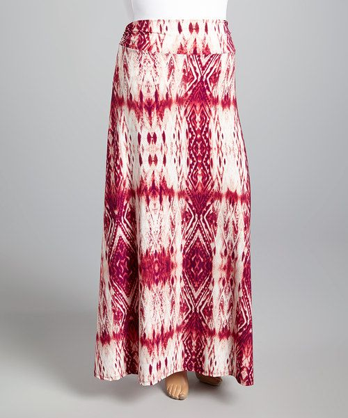 Loving this Maroon Acid Maxi Skirt - Plus on #zulily! #zulilyfinds
