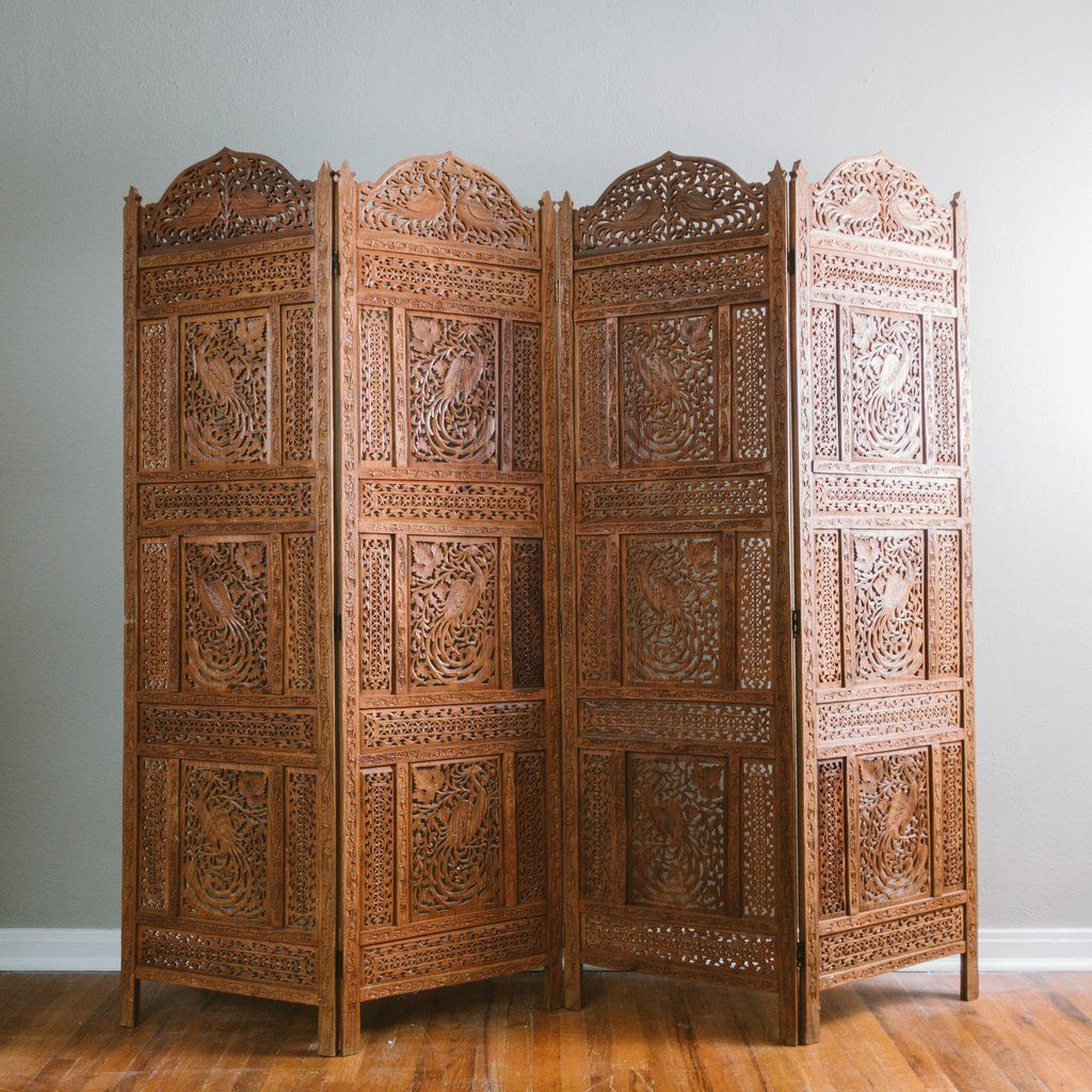 Hand Carved Patterned Mango Wood Room Divider Three Panel Screen Accent Screens Room Dividers Wooden Room Wooden Room Dividers Room Divider