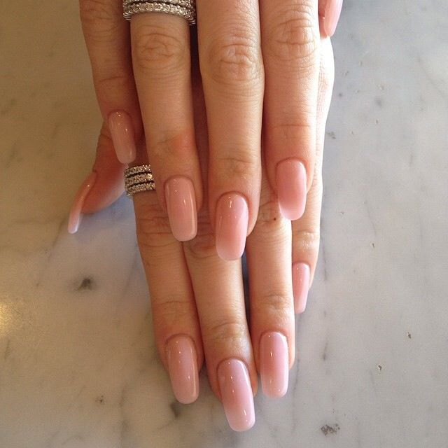 Simple Sheer Pink Gel Nails Squoval Acrylic Nails Pink Gel Nails Pink Nails