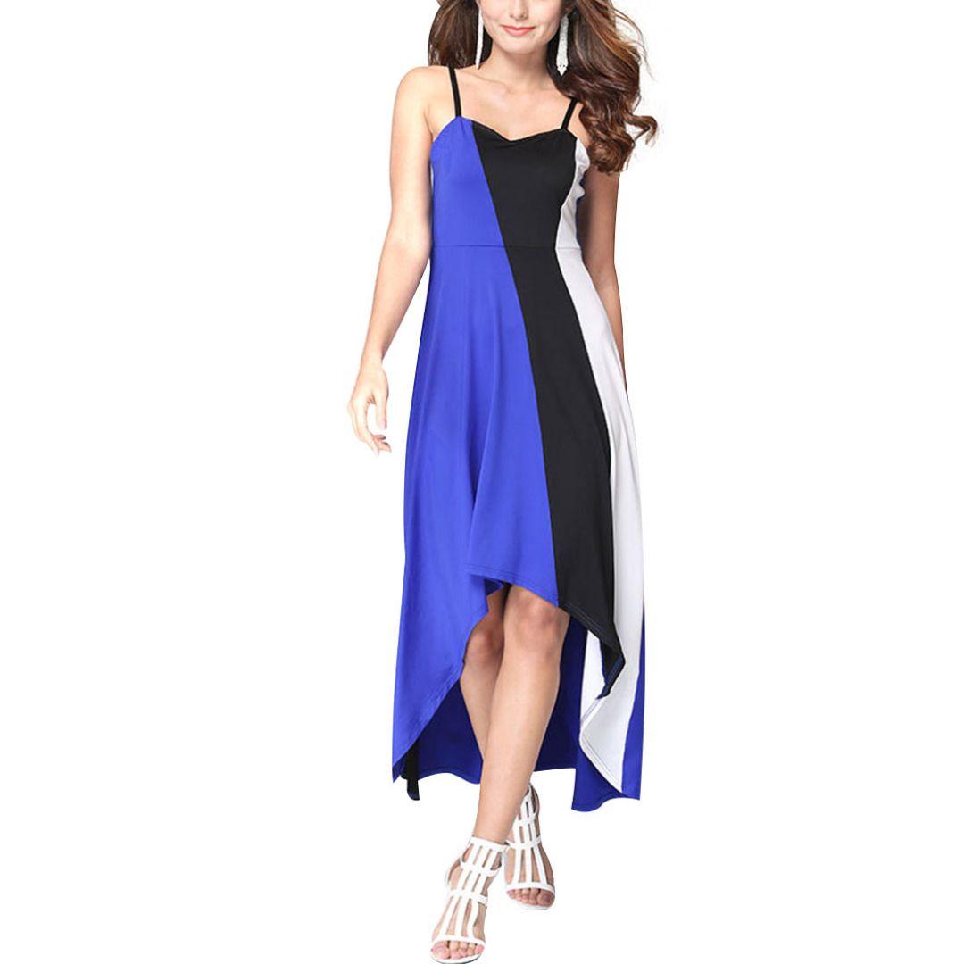 Women charming blue u black colorblocked hilo maxi dress