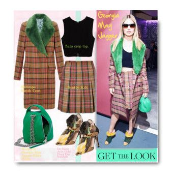 """""""Get the look"""" by stellaasteria ❤ liked on Polyvore featuring мода, Zara, De Siena, GetTheLook, StreetStyle, plaidshirt, furcoats и waystowear"""