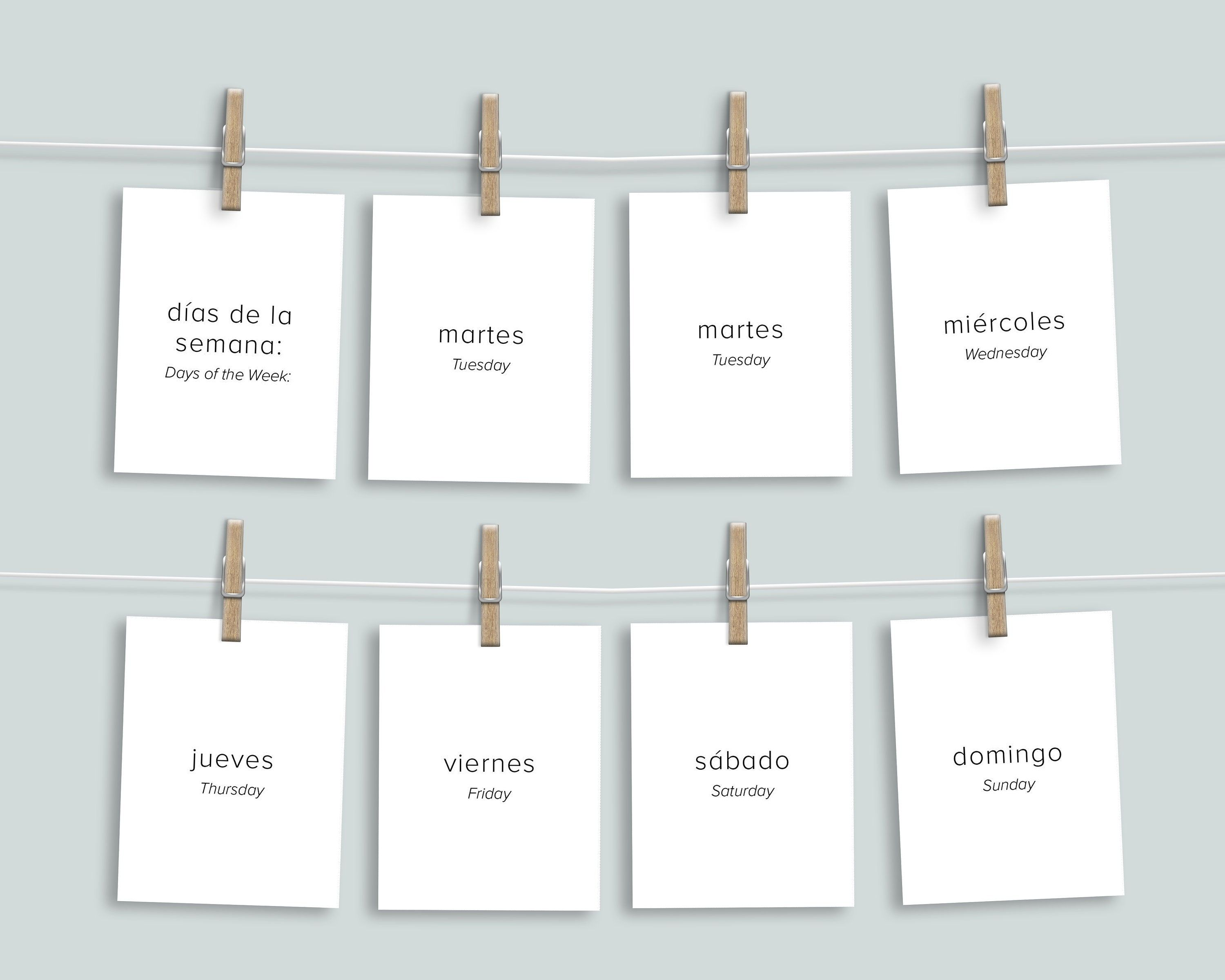 """""""**No physical product will be shipped. This is an instant download file. Love this minimalist style? Check out our Spanish & English Circle Time Board Bundle here: www.etsy.com/listing/848636615/spanish-english-preschool-circle-time Use these versatile printable flashcards as an addition to your morning basket, part of your preschool curriculum, or use in your homeschool classroom as wall display cards! Reinforce the basics with these printables. Each card is written out in a clear, legible"""