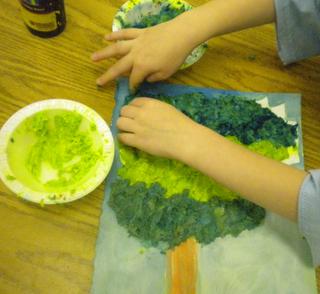 (Pr-K) Creating art with Paper Mache Pulp